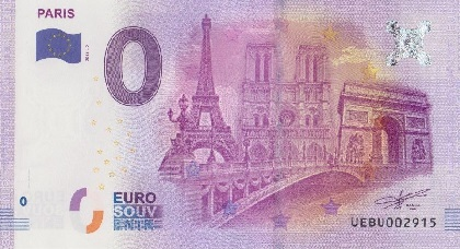 billet 0 euro souvenir Paris