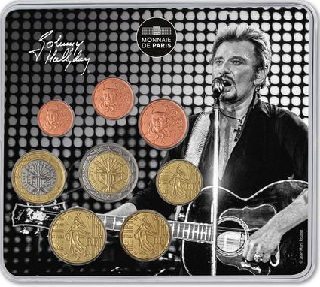 coffret d'euros 2019 France, miniset Johnny Hallyday guitare
