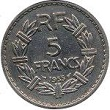 5 francs lavriullier nickel 1935