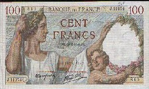 billet de 100 francs sully 1945