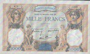 billet de mille francs ceres et mercure