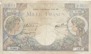 billet de 1000 francs commerce et industrie