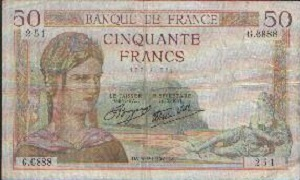 billet de 50 francs ceres 1940