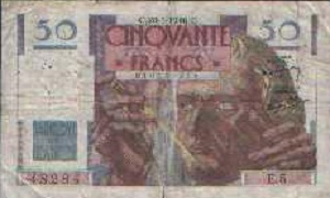 billet de 50 francs le verrier 1948