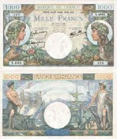 billet de 1000 francs commerce et industrie 1944