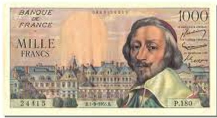 billet de 1000 francs richelieu 1955