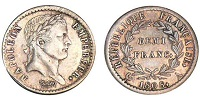 demi franc napoleon empereur revers republique 1808