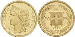 20 francs or suisse helvetia 1883