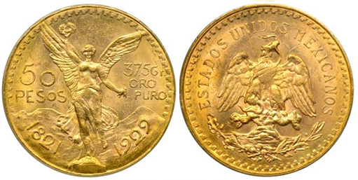 50 pesos en or 1929 Mexique