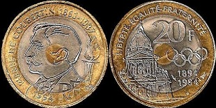 20 francs commémoratives  Coubertin 1994