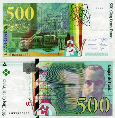 billet de banque 500 francs pierre et marie curie