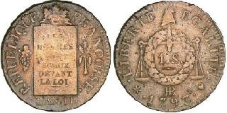 Sol aux balances 1793 an ii type fran oise - Sol en piece de monnaie ...