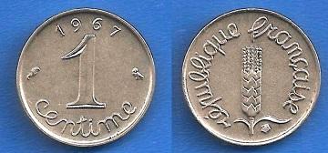 piece de monnaie 1 centime 1967