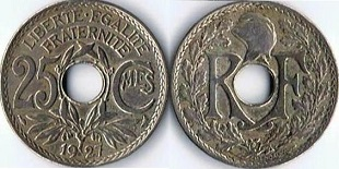 etat FRANCE  25 centimes 1937  LINDAUER