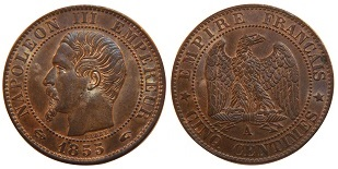photo pieces napoleon 5 centimes 1856