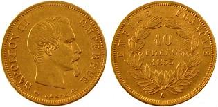 10 francs or napol on iii 1855 1860. Black Bedroom Furniture Sets. Home Design Ideas