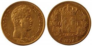 40 francs or charles x 1824 1830. Black Bedroom Furniture Sets. Home Design Ideas