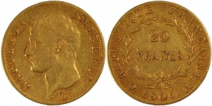 20 francs or napol on an 13 an 14 1806. Black Bedroom Furniture Sets. Home Design Ideas
