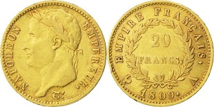 20 francs or Napoléon tête laurée au revers Empire 1809-1814