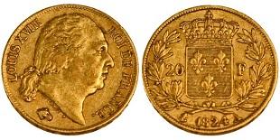 20 francs or louis xviii 1816 1824 buste nu. Black Bedroom Furniture Sets. Home Design Ideas