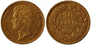 20 Francs Or 1830 Et 1831 Louis Philippe