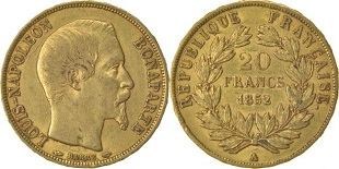 20 francs or 1852 Louis Napoléon Bonaparte