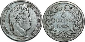 5 Francs Louis Philippe 1831 1843 Tete Lauree