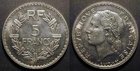 5 francs lavrillier 1933 1939 nickel. Black Bedroom Furniture Sets. Home Design Ideas