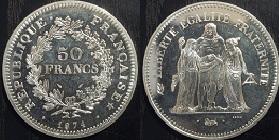 piece de monnaie 50 francs argent 1978