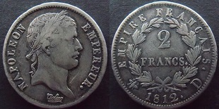 2 francs Napoléon Empereur revers Empire 1809-1814