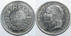 5 francs lavrillier aluminium 1945 1952. Black Bedroom Furniture Sets. Home Design Ideas