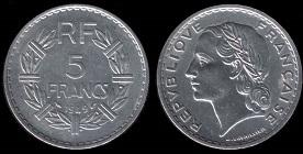 piece de monnaie 5 francs 1949