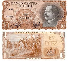 billet de 10 escudos 1970 Chili