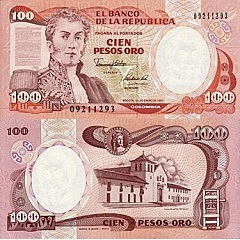 billet de 100 pesos oro 1990 Colombie