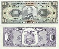 billet de 100 sucres 1997 Equateur
