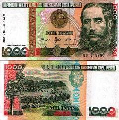 Billet de 1000 Intis 1987 Pérou