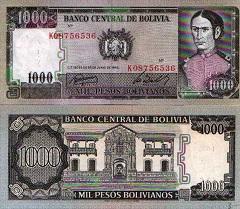 billet de 1000 pesos bolivianos 1982 Bolivie