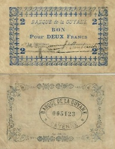billet 2 francs 1945 Guyane Française