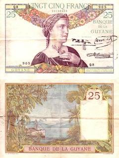 billet 25 francs 1933 Guyane Française