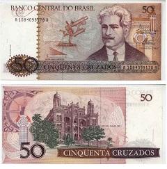 billet 50 cruzados 1986 Brésil