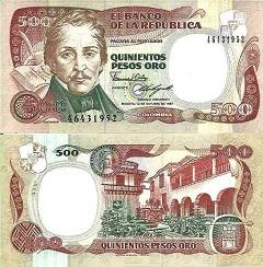 billet de 50 pesos oro 1986 Colombie