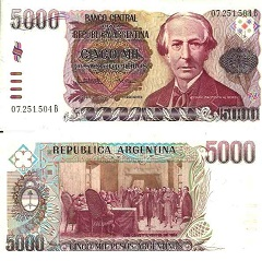 billet 5000 pesos 1984 Argentine
