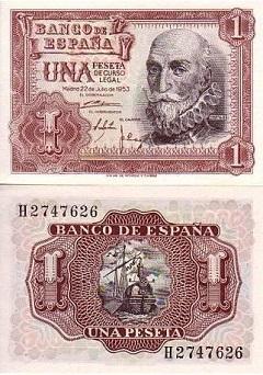 billet 1 peseta 1953 Espagne