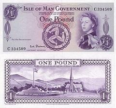 billet 1 pound 1961 Ile de Man