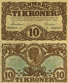 billet 10 kroner 1936 Danemark