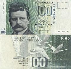 billet 100 markkaa 1986 Finlande