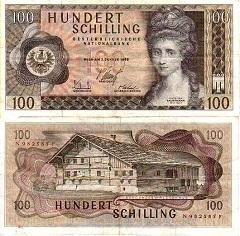 billet 100 schilling 1969 Autriche