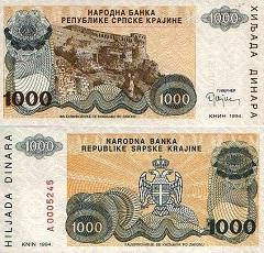 billet 1000 dinara 1994 Croatie
