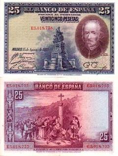 billet 25 pesetas 1965 Espagne