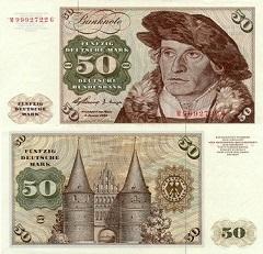 billet 50 deutshe mark 1960 Allemagne